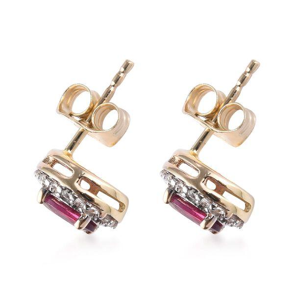 9K Yellow Gold Rhodolite Garnet (Ovl), Natural Cambodian Zircon Stud Earrings (with Push Back) 1.33 Ct.