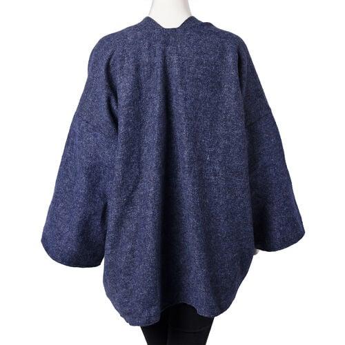Navy Long-Sleeve Multicolour Embroidered Kimono (Size 72x80cm)