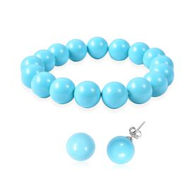 2 Piece Set - Turquoise Colour Shell Pearl (Rnd 11-13 mm) Stretchable Bracelet and Stud Earrings in