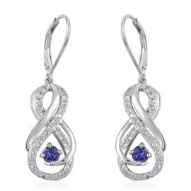 Tanzanite (Rnd), Natural White Cambodian Zircon Infinity Drop Earrings (With Lever Back) in Rhodium