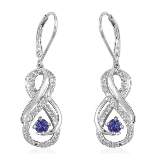 Tanzanite (Rnd), Natural White Cambodian Zircon Infinity Drop Earrings (With Lever Back) in Rhodium Overlay Sterling Silver 1.460 Ct.