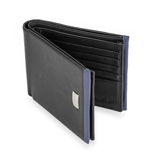 Close Out Deal - CERRUTI 1881 London Genuine Leather Seattle Wallet- Black (Size 11x9.5 Cm)