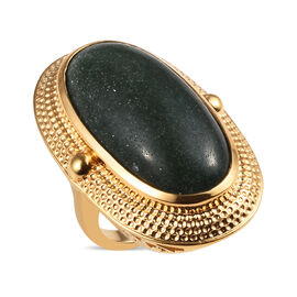 25 Ct Green Aventurine Oval Shape Soliatire Ring in Yellow Gold Plated