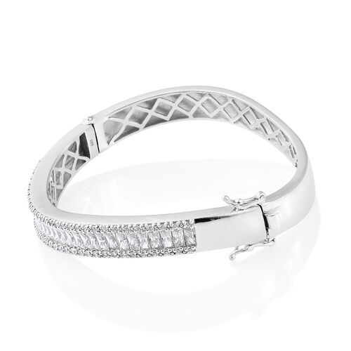 J Francis - Platinum Overlay Sterling Silver (Bgt and Rnd) Bangle (Size - 7.75) Made with SWAROVSKI ZIRCONIA, Silver wt 29.15 Gms.