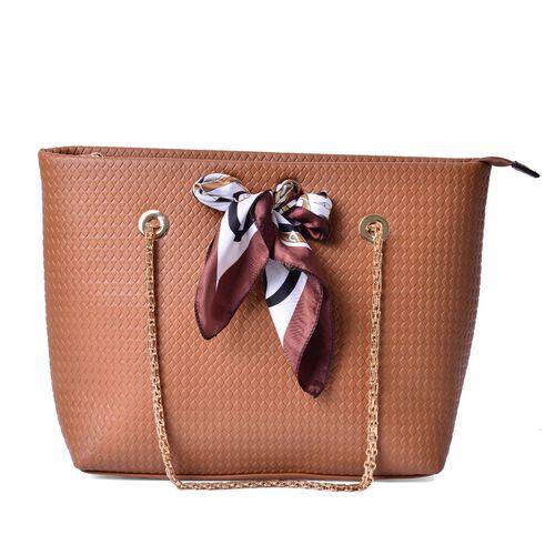 Diamond Pattern Tan  Colour Large Tote Bag with Chain Strap and Multi Colour Colour Scarf (Size 44x29x15 Cm, 51x47 Cm)