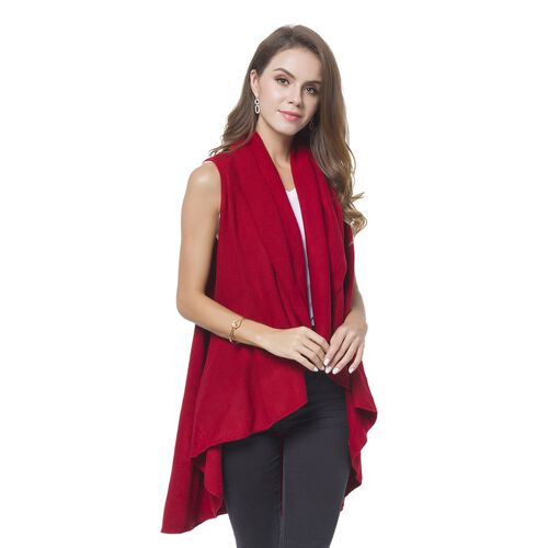 Wine Red Colour Fold Over Collar Cape (Free Size)
