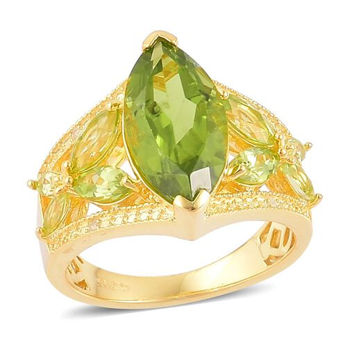 Hebei Peridot (Mrq 4.25 Ct), Natural Cambodian Zircon Ring in Yellow Gold Overlay Sterling Silver 5.