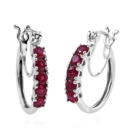 African Ruby (Rnd) Hoop Earrings (with Clasp) in Platinum Overlay Sterling Silver 1.500 Ct.