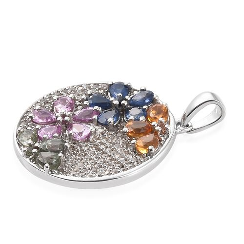 Rainbow Sapphire (Pear), Natural Cambodian Zircon Floral Pendant in Platinum Overlay Sterling Silver 4.000 Ct. Silver wt 5.23 Gms. Number of Gemstone 133