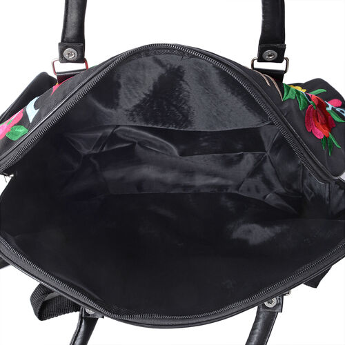 Shanghai Collection Black with Multi Colour Flower and Bird Embroidered Weekend Bag with Adjustable and Removable Shoulder Strap (Size 42x35x20 Cm)
