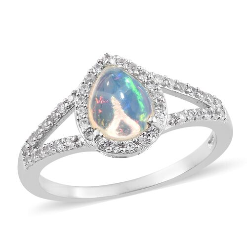 Ethiopian Welo Opal (Pear 1.00 Ct), Natural Cambodian Zircon  Ring in Platinum Overlay Sterling Silver 1.500 Ct.