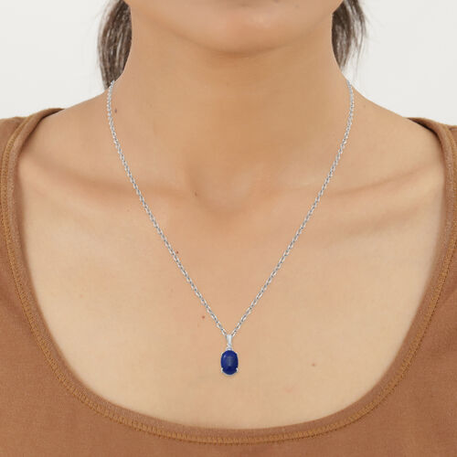 Lapis Lazuli and Natural Cambodian Zircon Pendant with Chain (Size 18) in Sterling Silver 7.04 Ct.