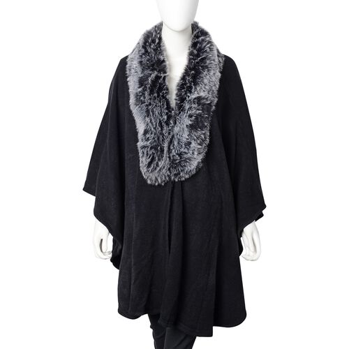 Half Moon Faux Fur Collar Cape (Size 124x76 Cm) Black Colour