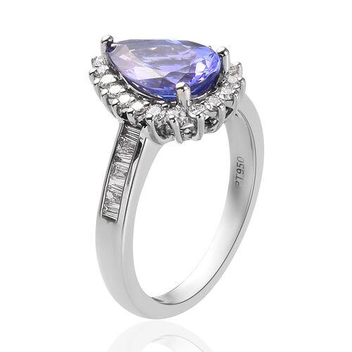 RHAPSODY 950 Platinum AAAA Tanzanite and Diamond (VS/E-F) Ring 2.50 Ct, Platinum wt 5.42 Gms