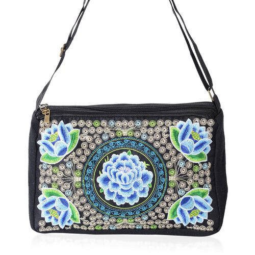 Shanghai Collection Blue Flower Embroidery  Cross Body Bag with Adjustable Shoulder Strap (Size 27x16.5x7.5 Cm)