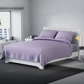 Serenity Night 4 Piece Set - Solid Microfibre 1 Flat Sheet (235x265cm), 1 Fitted Sheet (140x190+30cm) & 2 Pillowcase (50x75cm) - Lilac (Double)