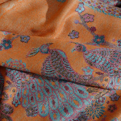 Orange, Blue and Multi Colour Peacock Pattern Jacquard Scarf with Tassels (Size 180X70 Cm)