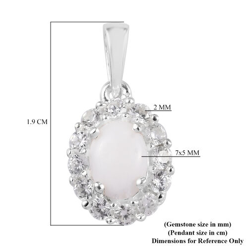 Australian White Opal (Ovl 7x5) and Natural Cambodian Zircon Pendant in Sterling Silver
