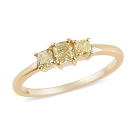 9K Yellow Gold Natural Yellow Diamond (Cush) Three Stone Ring 0.60 Ct.