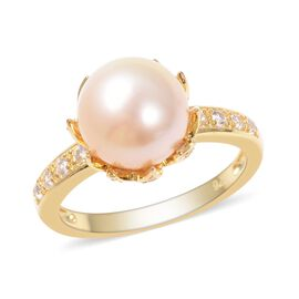 Golden South Sea Pearl (Rnd 9-10 mm), Natural White Cambodian Zircon Ring in Yellow Gold Overlay Ste