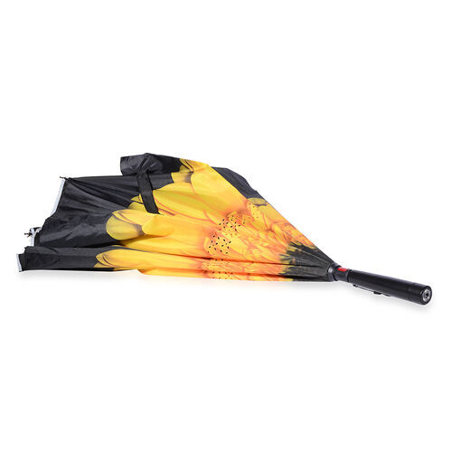 Orange and Yellow Colour Flower Pattern Double Layer Canopy Inverted Umbrella with LED Light on Handle (Size 80 Cm)