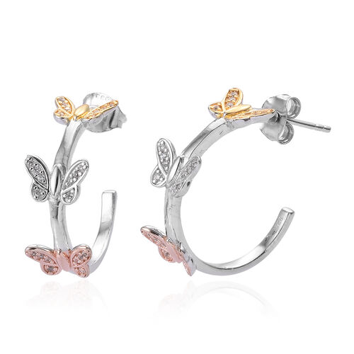 Natural Cambodian Zircon (Rnd) Butterfly J Hoop Earrings (with Push Back) in Platinum, Yellow and Ro