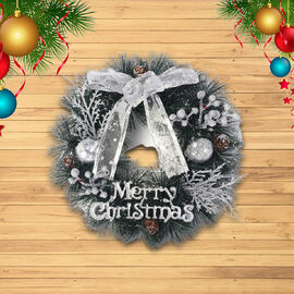 Christmas Decoration Wreath Embellished with Pine Cones, Silver Apple, Silver Berries, Bowknot, and Merry Christmas Letter Words (Size 15x15cm)