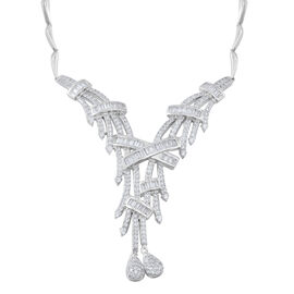 Limited Available-Designer Inspired- ELANZA AAA Simulated White Diamond (Rnd) Necklace (Size 17 with