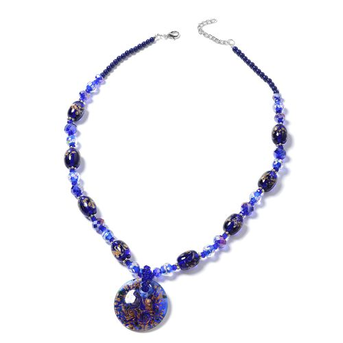 Blue Murano Style Glass and Simulated Sapphire Beads Necklace (Size 28) in Silver Plated