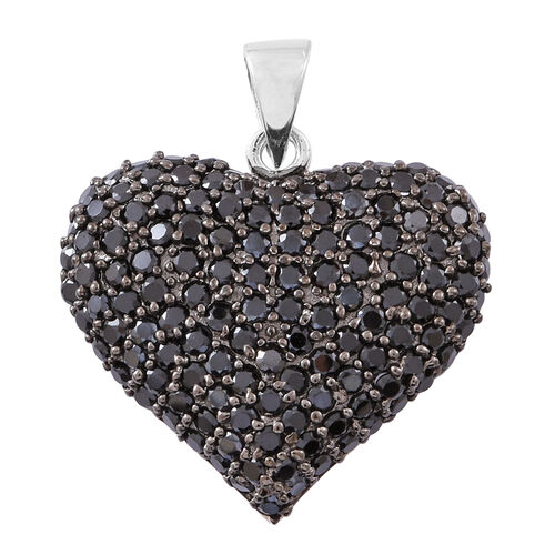 Boi Ploi Black Spinel (Rnd) Heart Pendant in Rhodium Plated Sterling Silver 2.250 Ct.