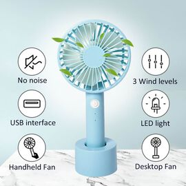 Rechargeable Mini Handheld Desk Fan with Three Speed Settings (Size 10.5x22.1x4.2  Cm) - Sky Blue