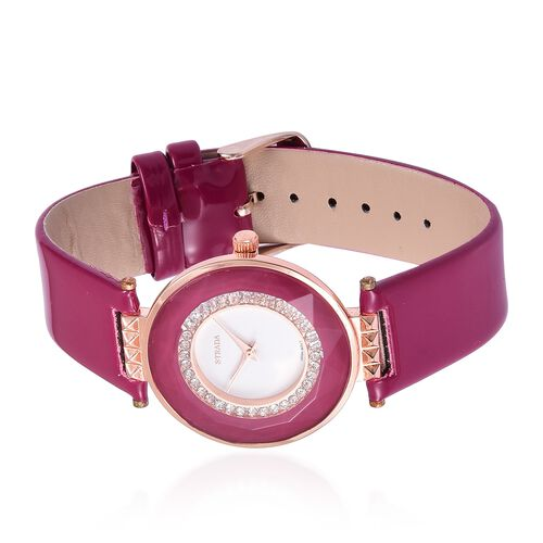 STRADA Japanese Movement White Austrian Crystals Studded White Dial Water Resistant Watch in Rose Gold Tone with Stainless Steel Back and Cerise Pink Colour Strap