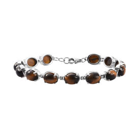 30 Ct Tigers Eye Tennis Style Bracelet in Silver Tone