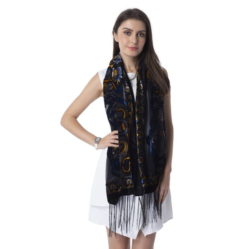 Black, Blue, White and Yellow Colour Devore Style Bandanna Flower Pattern Scarf (Size 160x50 Cm)