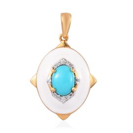 Arizona Sleeping Beauty Turquoise and Natural Cambodian Zircon Enamelled Pendant in 14K Gold Overlay