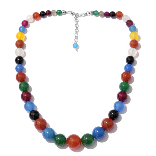 Multi Colour Quartsite Gradual Beads Necklace (Size 18 with 2 inch Extender) with Lobster Lock in Pl