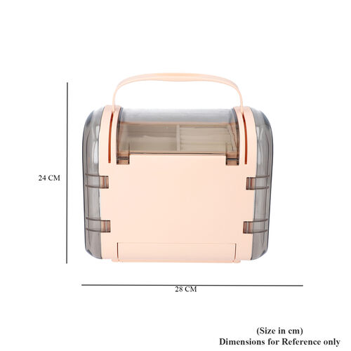Peach Colour Innovative Jewellery Box with 2 side Doors and Removable Top