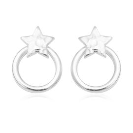 Thai Sterling Silver- Sterling Silver Star Circle Earrings (with Push Back)