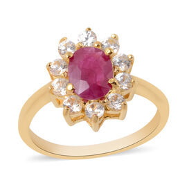 AAA Burmese Ruby (Ovl), Natural White Cambodian Zircon Ring in Yellow Gold Overlay Sterling Silver 1