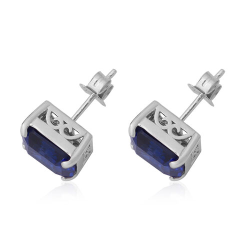 Signature Collection-Asscher Cut  (10x10 mm) Cubic Zirconia Tanzanite  in Sterling Silver Earring 16.500  Ct.