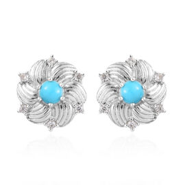 Arizona Sleeping Beauty Turquoise and Natural Cambodian Zircon Floral Stud Earrings (with Push Back)