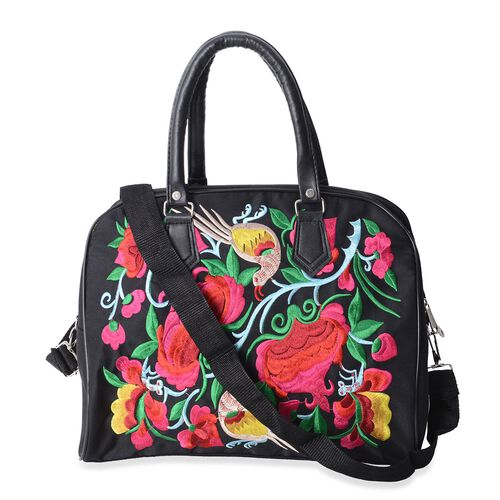 ShangHai Collection Bird and Floral Embroidered Large Tote Bags with Adjustable Crossbody Strap (35x29x16.5cm)