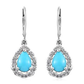 Arizona Sleeping Beauty Turquoise (Pear), Natural Cambodian Zircon Earrings in Platinum Overlay Ster