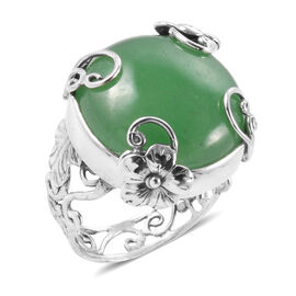 Green Jade (Rnd) Floral Ring in Sterling Silver 24.820 Ct.
