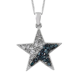 Blue and White Diamond (Bgt) Star Pendant with Chain in Platinum Overlay Sterling Silver 0.330  Ct.