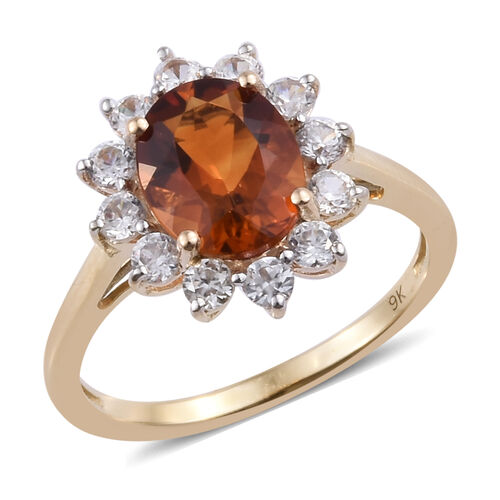9K Yellow Gold AAA Madeira Citrine (Ovl 9x7 mm), Natural Cambodian Zircon Floral Ring 2.400 Ct.