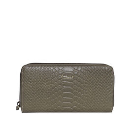 Assots London HAZEL Python Embossed Genuine Leather Zip Around Purse (Size 20x2x10 Cm) - Olive Green