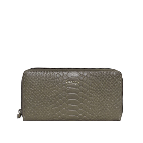 Assots London HAZEL Python Embossed Genuine Leather RFID Zip Around Purse (Size 20x2x10 Cm) - Olive