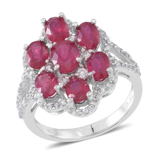 6 Carat African Ruby and Zircon Cluster Ring in Rhodium Plated Silver 5.15 Grams