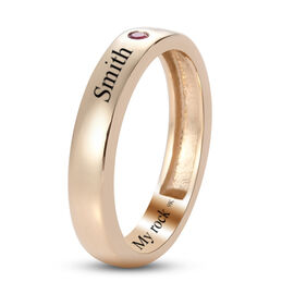 Personalised Engravable 9K Yellow Gold Burmese Ruby Ring